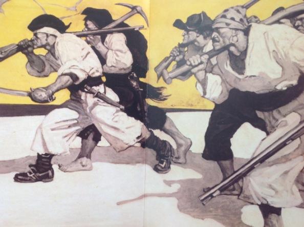 Droch-chriú na loinge sa tóir ar an ór. Léaráidí áille le N.C. Wyeth.